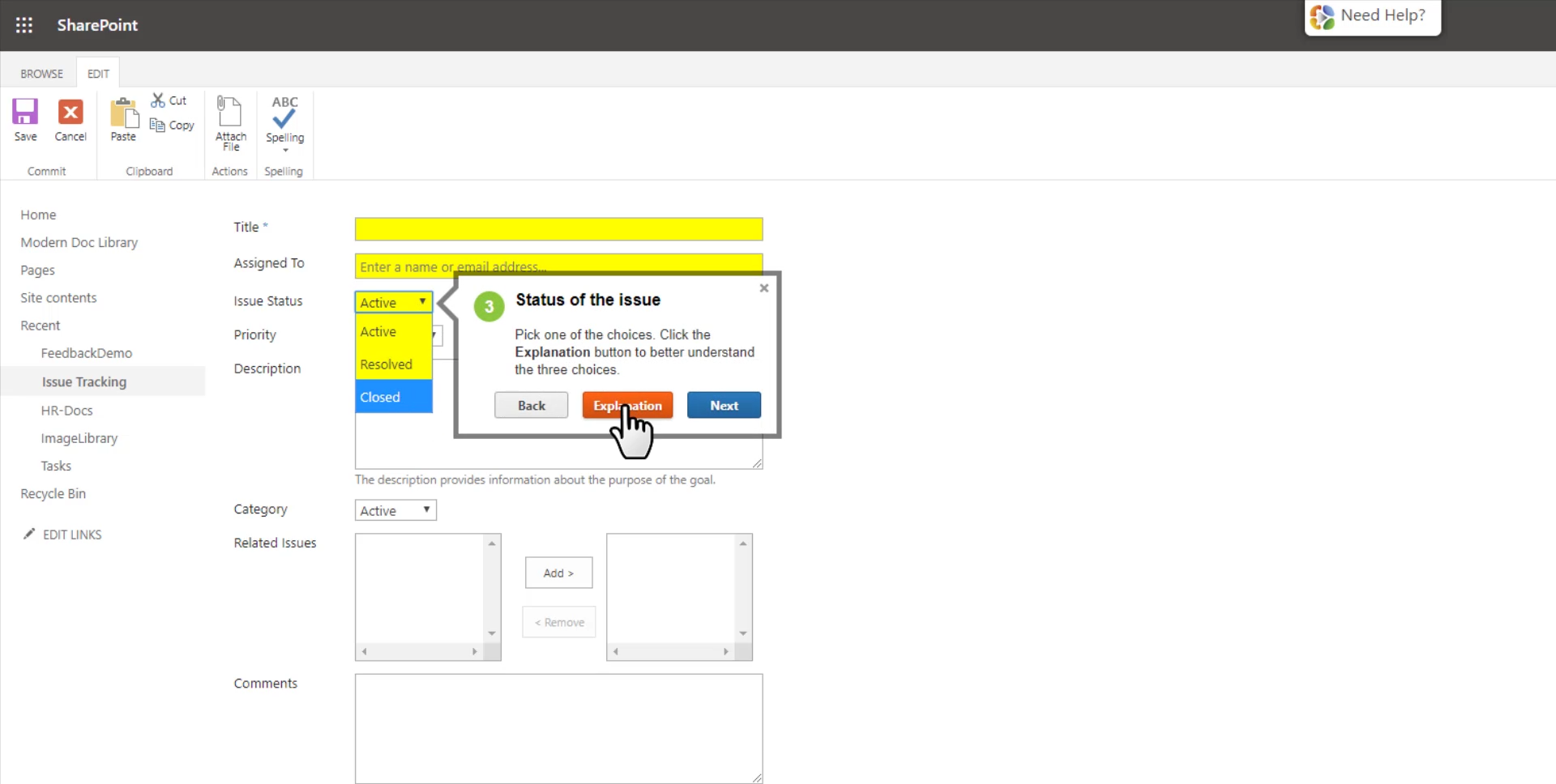 Explaining how to fill a form VisualSP 2
